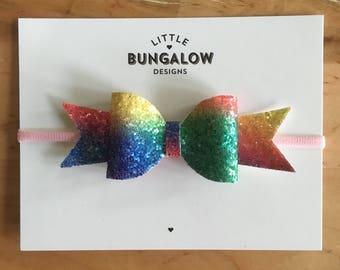 Chunky Rainbow Glitter Bow Headband // Hair Clip //  Rainbow Bow // Glitter Bow // Photo Prop // Baby Headband // Mini Bow