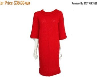 Summer Sale Vintage Red Knit Dress// Comfy Casual Red Dress// Red Knitted Knee Length Dress// Size M // 207