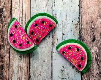 Glitter Watermelon hair clips or hair ties Handmade Felt and glitter watermelon hair bobbles watermelon barrette