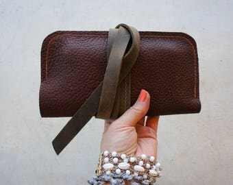 NEW///Thick Mahogany Brown Leather Wrap Wallet//Phone Holder///Clutch