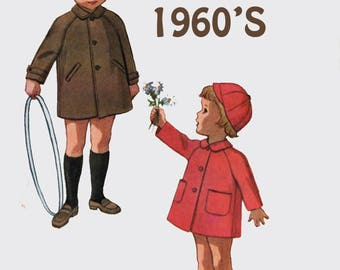 Vintage 1960s Girl's or Boys Coat & Cap Sewing Pattern McCalls 6255 Mod 60s Sewing Pattern Size 3 Breast/Chest 22