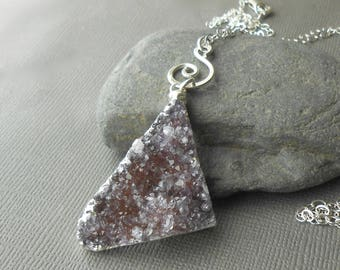 Sterling Silver Druzy Necklace, Long Triangle Druzy Pendant Necklace, Natural Raw Stone