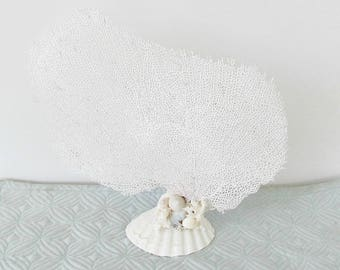 Sea Fan, White Seafan with Base, Natural Real Bahama Fan Coral,Coastal Beach Decor, Sea Fan with Stand, Stand Alone White Seafan