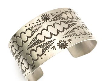 Wide Stamped Cuff Bracelet, Sterling silver, hand stamped, navajo stamps