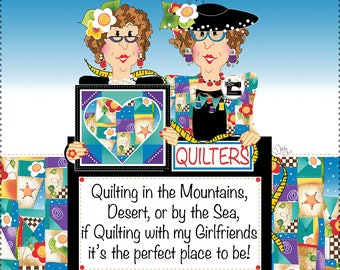"Traveling Quilters - 7.5"" square Fabric Art Panel"