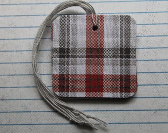 Black Red Plaid Gift tags 25 pieces ... paper over chipboard...