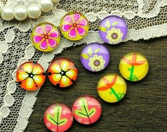 SALE - 30% OFF 10pcs 12mm Mixed Handmade Photo Glass Cabochon (Flower)  -- MCH017H