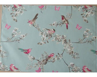 Bird Placemat Butterflies and Blossom Pink Teal Beige and Blue Birds