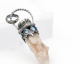 Angel Enchantress // Angel Aura Fairy Quartz and Swarovski Sterling Silver Organic, Sterling Gemstone by BellaLili