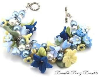 Blue Flower Bracelet, Bridal Bracelet, Hyacinth Flower Bracelet, Polymer Clay Flowers, Yellow Flower Bracelet,