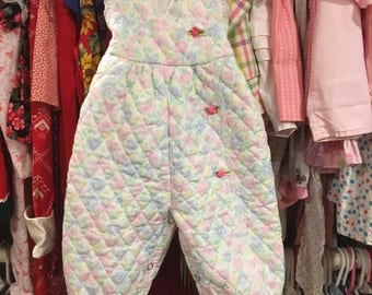 Quilted Pastel Overalls 6/9 Months
