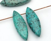 3 pcs top drilled flat oval African turquoise beads, blue green semiprecious stone 30mm