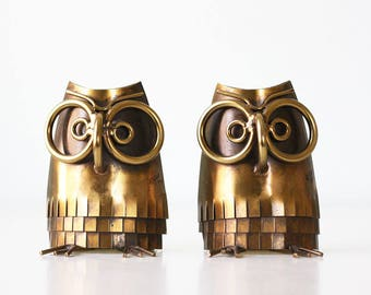 Vintage Jere Era Owl Bookends, Signed Curtis Jere 1977, Mid Century Modern Brass Owls