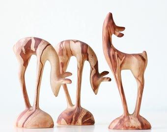 Vintage Deer, Set of 3, MCM, Ceramic Deer
