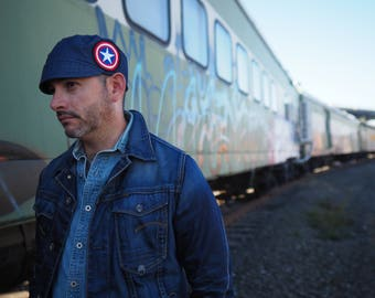 Blue Hat for Men Stylish Hat for him Captain America Aficionado Comic Con Gift for him Mens accessories