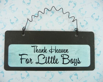 Sign THANK HEAVEN For Little Boys Wood Metal Chalkboard Cute Gender Reveal Its A Boy Baby Shower Gift Nursery Bedroom Gift for Mom To Be