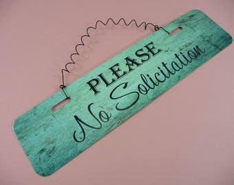 NO SOLICITATION Please Metal Sign Wire Cute Home Decor Entryway Kitchen Front Door Foyer Porch Mud Room Breezeway Aluminum No Soliciting