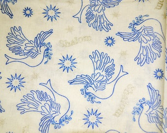 Judaic Fabrics Shalom Doves Half Yard Blue Doves on White Light Blue  Design