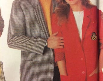 Sewing Pattern Simplicity 9803 Men's Misses' Jacket   Chest  28 to 36 Inches Uncut Complete