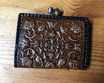 vintage leather wallet embossed Spanish  design  brown  old  stock style bifold new Spain