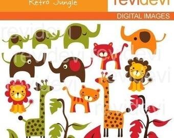50% OFF SALE ANIMALS clipart - Retro Jungle Clipart 07174 - Digital Images - clip art - elephants, lions, giraffes tigers