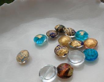 14 Murano Glass Lentil Beads