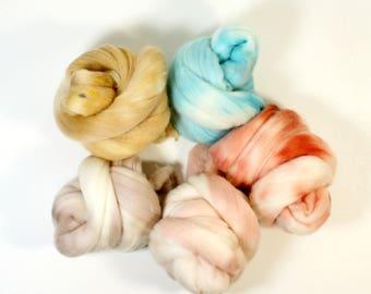 sahara fever  .. wool roving set, weaving creative yarn bundle, handspinner, hand dyed merino wool, hand spinning
