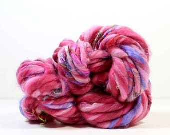 rouge .. hand spun art yarn, wool yarn, handspun, soft rainbow knitting wool, weaving, crochet supply