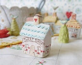 "Miniature Ceramic House, ""SWEET SHOP"", Fairy Garden or Terrarium Decor, English Country Village Collection"