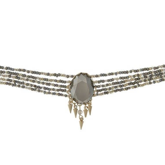 Gray Faceted Stone Focal Multi-Strand Choker