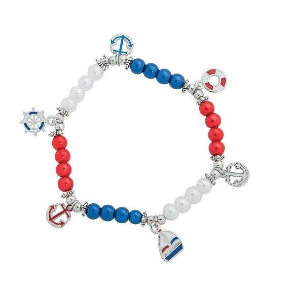 Patriotic Nautical Charm Stretch Bracelet
