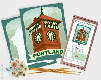 portland union station - 8x10 paint-by-number kit