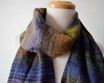 MIDNIGHT Handwoven Scarf in Handspun Merino Wool on Bamboo Thread - Textured Multicolor Dark Handwoven Wool Scarf: Fall Fashion, Unisex