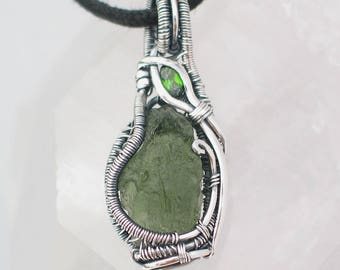 Moldavite Pendant with Chrome Diopside Wire Wrapped Pendant Heady Wire Wrap Moldavite Wire Wrap Wire Wrapped Jewelry Sterling Silver