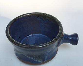 apothecary shaving mug - blue - shaving bowl-  pottery- ceramic - handmade - in stock- A1