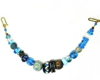 Viking necklace for apron dress. Turqoise/grey Handmade glass beads.