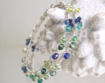 Gemstone Silver Hoops, Sterling Wire Wrapped Earrings, Beach Jewels with Kyanite, Emerald, Apatite, Tourmaline, Artisan Made