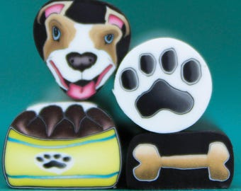 PIT BULL/ BOXER Dog, Set of 4 Mini Polymer Clay Canes -'Puppy Love' (43bb)