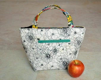 Thermal lunch bag, reusable lunch tote, back to school lunch box, insulated lunchbox, lunchbag tote for girls, floral lunch bag for women