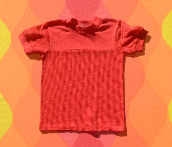 vintage 80s kids' tee MESH red surf skate t-shirt children's Small Medium red preppy 90s