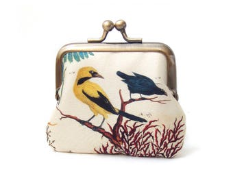 Coin purse, blue and yellow birds, silk pouch