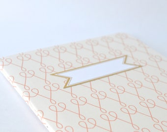 Pink Simple Summertime Notebook, Cute Sweetheart Diary, Handbound Blank Journal, Softcover Notebook