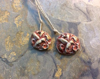 Hummingbird  Bead Set,  Artisan Ceramic Pendant.