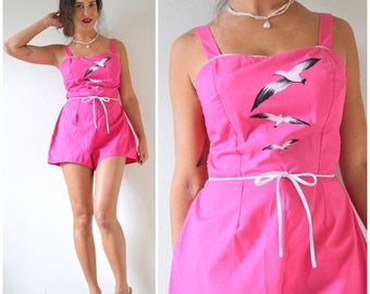 SUMMER SALE/ 30% off Vintage 50s 60s Birds of a Feather Hot Pink Painted Seagulls Ruched Back Playsuit (size medium, large)