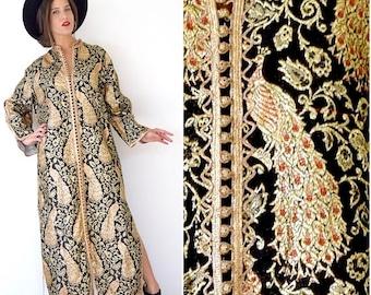 SUMMER SALE/ 30% off Vintage 60s 70s Royal Peacock Ornate Black and Metallic Gold Silk Brocade Moroccan Caftan