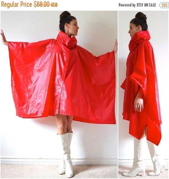 SUMMER SALE/ 30% off Vintage 60s 70s Aqua Sheen Red Nylon Cowl Neck Windbreaker Poncho