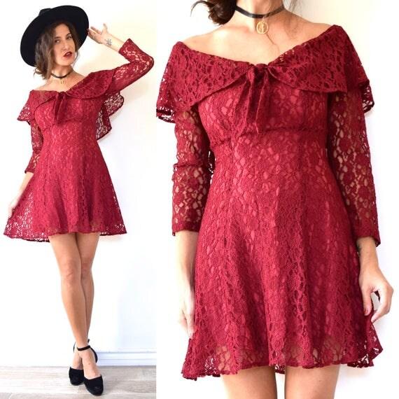 Vintage 90s Cranberry Lace Off the Shoulder Mini Dress (size small)