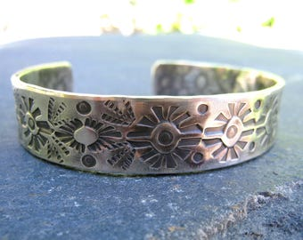 Stamped Sterling Silver Cuff with patina - for him or for her, oxidized sterling silver half inch wide bold rustic boho tribal cuff bracelet