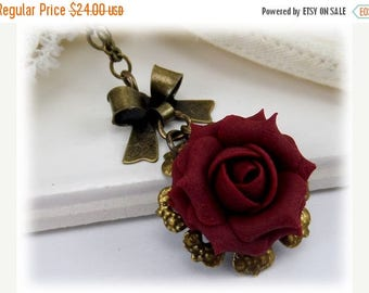 30% OFF SUMMER SALE Rose Bow Necklace - More Colors Available