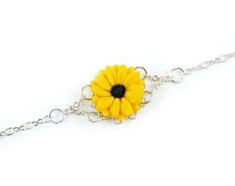 Black Eyed Susan Clasp Bracelet - Black Eyed Susan Jewelry, Black Eyed Susan Filigree Bracelet, Yellow Coneflower
